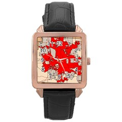 Map Of Franklin County Ohio Highlighting Columbus Rose Gold Leather Watch