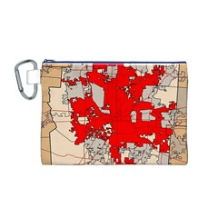 Map Of Franklin County Ohio Highlighting Columbus Canvas Cosmetic Bag (m)