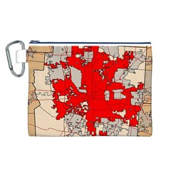 Map Of Franklin County Ohio Highlighting Columbus Canvas Cosmetic Bag (L)