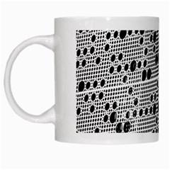 Metal Background Round Holes White Mugs