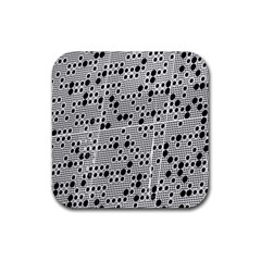 Metal Background Round Holes Rubber Coaster (square)