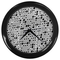 Metal Background Round Holes Wall Clocks (black)