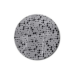 Metal Background Round Holes Rubber Round Coaster (4 pack)