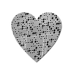 Metal Background Round Holes Heart Magnet
