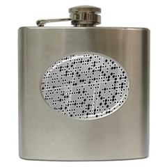 Metal Background Round Holes Hip Flask (6 Oz)
