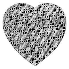 Metal Background Round Holes Jigsaw Puzzle (heart)