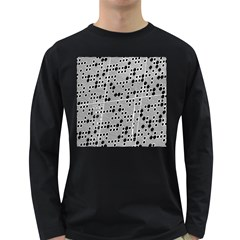 Metal Background Round Holes Long Sleeve Dark T Shirts