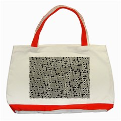 Metal Background Round Holes Classic Tote Bag (red)