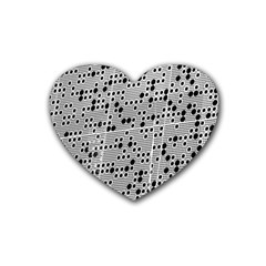 Metal Background Round Holes Heart Coaster (4 Pack)