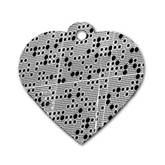 Metal Background Round Holes Dog Tag Heart (one Side)