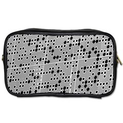 Metal Background Round Holes Toiletries Bags 2 Side