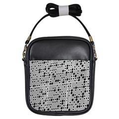 Metal Background Round Holes Girls Sling Bags