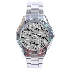 Metal Background Round Holes Stainless Steel Analogue Watch