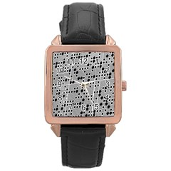 Metal Background Round Holes Rose Gold Leather Watch