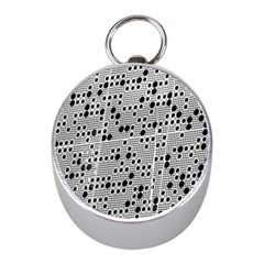 Metal Background Round Holes Mini Silver Compasses