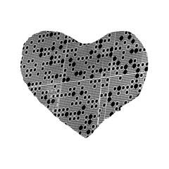 Metal Background Round Holes Standard 16  Premium Flano Heart Shape Cushions