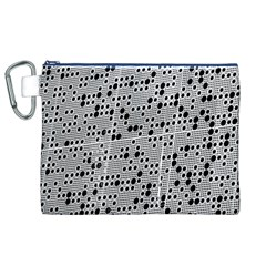 Metal Background Round Holes Canvas Cosmetic Bag (xl)