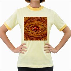 Orange Seamless Psychedelic Pattern Women s Fitted Ringer T Shirts