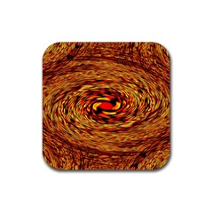 Orange Seamless Psychedelic Pattern Rubber Coaster (square)