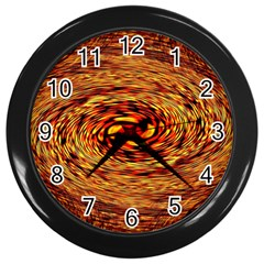 Orange Seamless Psychedelic Pattern Wall Clocks (black)