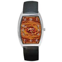 Orange Seamless Psychedelic Pattern Barrel Style Metal Watch