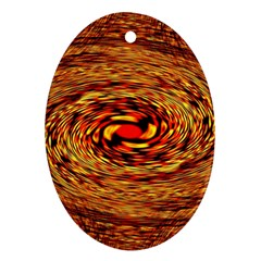 Orange Seamless Psychedelic Pattern Oval Ornament (two Sides)