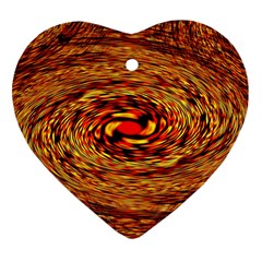 Orange Seamless Psychedelic Pattern Heart Ornament (two Sides)