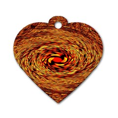 Orange Seamless Psychedelic Pattern Dog Tag Heart (one Side)