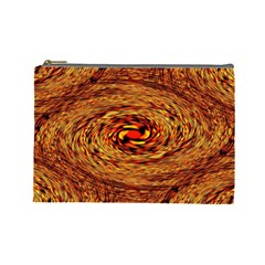Orange Seamless Psychedelic Pattern Cosmetic Bag (large)