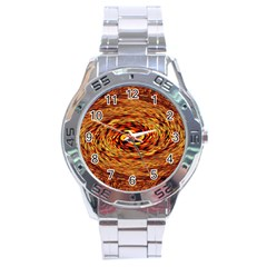 Orange Seamless Psychedelic Pattern Stainless Steel Analogue Watch