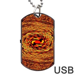 Orange Seamless Psychedelic Pattern Dog Tag Usb Flash (one Side)