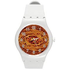 Orange Seamless Psychedelic Pattern Round Plastic Sport Watch (m)
