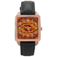 Orange Seamless Psychedelic Pattern Rose Gold Leather Watch