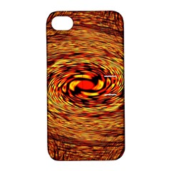 Orange Seamless Psychedelic Pattern Apple Iphone 4/4s Hardshell Case With Stand