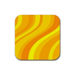 Orange Yellow Background Rubber Square Coaster (4 Pack)