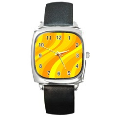 Orange Yellow Background Square Metal Watch