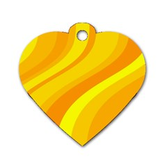Orange Yellow Background Dog Tag Heart (two Sides)