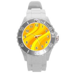 Orange Yellow Background Round Plastic Sport Watch (l)