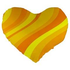 Orange Yellow Background Large 19  Premium Heart Shape Cushions