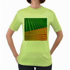Pattern Colorful Palm Leaves Women s Green T Shirt