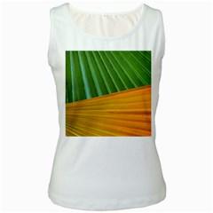 Pattern Colorful Palm Leaves Women s White Tank Top