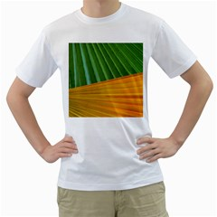 Pattern Colorful Palm Leaves Men s T Shirt (white) (two Sided)