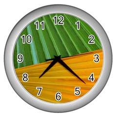 Pattern Colorful Palm Leaves Wall Clocks (silver)