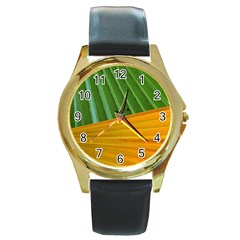 Pattern Colorful Palm Leaves Round Gold Metal Watch