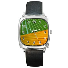 Pattern Colorful Palm Leaves Square Metal Watch