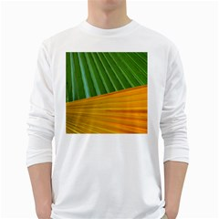 Pattern Colorful Palm Leaves White Long Sleeve T Shirts