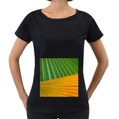 Pattern Colorful Palm Leaves Women s Loose Fit T Shirt (black)