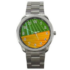 Pattern Colorful Palm Leaves Sport Metal Watch