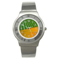 Pattern Colorful Palm Leaves Stainless Steel Watch