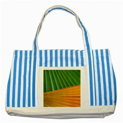Pattern Colorful Palm Leaves Striped Blue Tote Bag